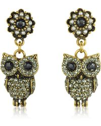 Alcozer & J - Hanging Goldtone Brass W/crystals Drop Earrings - Lyst