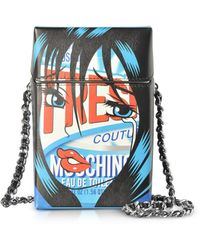 Moschino - Fresh Comic Girl Blue Leather Crossbody Bag - Lyst