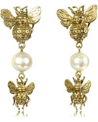 Bernard Delettrez - Bees And Pearls Bronze Earrings - Lyst
