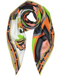 Emilio Pucci - Floral And Geometric Print Twill Silk Square Scarf - Lyst