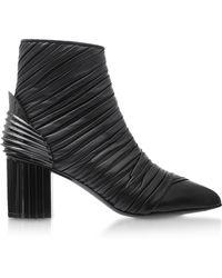 Balmain - Ilma Black Pleated Leather Heel Booties - Lyst