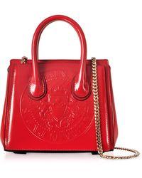 Balmain | 3d Red Glossy Leather Mini Top Handle Bag W/embossed Blazon | Lyst