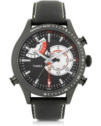 Timex - Chrono Timer Black Stainless Steel Case And Leather Strap Men's Watch - Lyst