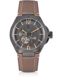 Lancaster - Space Shuttle Meccanico Gunmetal Stainless Steel And Natural Nubuck Men's Watch - Lyst