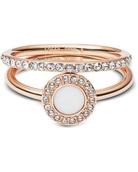 02926f90991b Fossil - Rose-goldtone Stone Glitz Stackable Women s Ring W strass And  Glass Stone