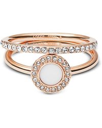 Fossil - Rose-goldtone Stone Glitz Stackable Women's Ring W/strass And Glass Stone - Lyst
