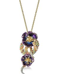 Roberto Cavalli - Purple Flower Goldtone Brass Necklace W/crystals - Lyst