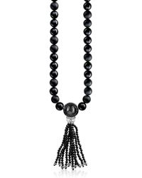Thomas Sabo - Power Blackened Sterling Silver Men's Necklace W/obsidian Matt And Polished Tassel - Lyst