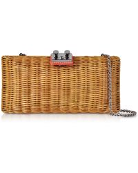 Rodo - Natural Wicker And Leather Clutch - Lyst