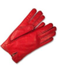 FORZIERI - Women's Stitched Silk Lined Red Italian Leather Gloves - Lyst