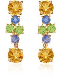 FORZIERI - Amethyst And Citrine Flower 18k Gold Earrings - Lyst