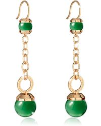 Rebecca - Hollywood Stone Yellow Gold Over Bronze Dangle Earring W/green Hydrothermal Stone - Lyst