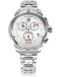 Tonino Lamborghini - Shield Lady Silver Tone Stainless Steel Chronograph Watch - Lyst