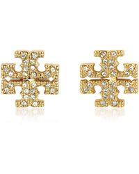 Tory Burch - Crystal Logo Cross-stud Earrings - Lyst
