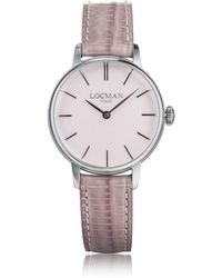 LOCMAN - 1960 Silver Stainless Steel Women's Watch W/pink Croco Embossed Leather Strap - Lyst