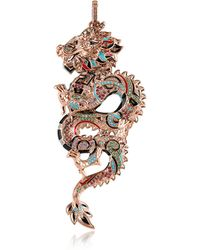 Thomas Sabo - 18k Rose Gold Plated Sterling Silver Dragon Pendant W/glass-ceramic Stones - Lyst