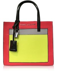 2f6380c79ecf Marc Jacobs - Grainy Leather The Mini Grind Colorblocked Tote Bag - Lyst