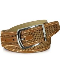 Moreschi - St.barth Tan Perforated Nubuck And Leather Belt - Lyst