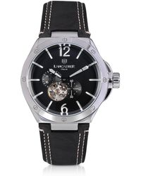 Lancaster - Space Shuttle Meccanico Stainless Steel And Black Nubuck Men's Watch - Lyst