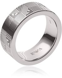 Emporio Armani - Stainless Steel Geometric Eagle Men's Ring - Lyst