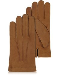 FORZIERI - Men's Cashmere Lined Brown Italian Calf Leather Gloves - Lyst
