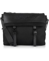 Balmain - Black Nylon Men's Messenger Bag W/embossed Signature Logo - Lyst