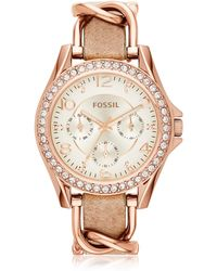 Fossil - Riley Rose Gold Tone Stainless Steel Case And Nude Leather Strap Women's Watch - Lyst