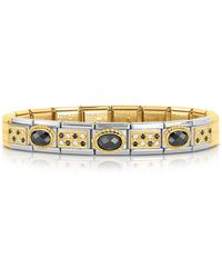 Nomination - Classic Pavés Golden Stainless Steel Bracelet W/black Stone And Cubic Zirconia - Lyst