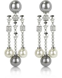 AZ Collection - Glass Pearl Drops Clip On Earrings - Lyst