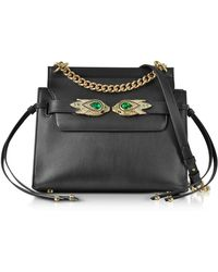 Roberto Cavalli - Black Leather Shoulder Bag W/goldtone And Crystals Snake Heads - Lyst