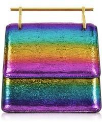 M2malletier Mini Collectionneuse Metallic Rainbow Clutch Bag
