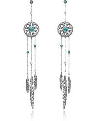 Thomas Sabo - Blackened Sterling Silver Feather Pendant Earrings W/synthetic Turquoise And White Cubic Zirconia - Lyst