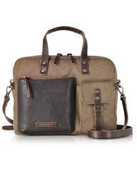 The Bridge - Carver-d Canvas Briefcase W/leather Front Pocket - Lyst