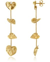 Torrini | Leaf - Diamond 18k Yellow Gold Drop Earrings | Lyst