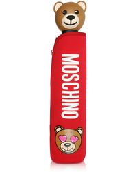 Moschino - Toy In Love Red Mini Umbrella W/teddy Handle And Neoprene Pouch - Lyst