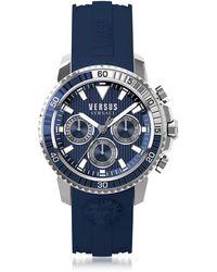 Versus - Aberdeen Silver Stainless Steel Men's Chronograph Watch w/Blue Silicone Strap - Lyst