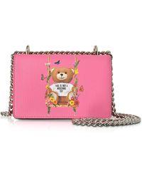 Moschino - Teddy Bear Pink Eco Leather Crossbody Bag - Lyst