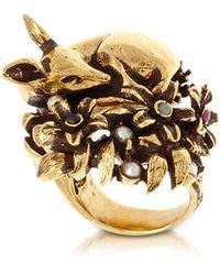 Alcozer & J - Fawn Goldtone Brass Ring W/glass Pearl - Lyst