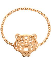 KENZO - Rose Gold Plated Mini Tiger Ring - Lyst