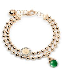 Rebecca - Boulevard Stone Yellow Gold Over Bronze Double Beadball Chain Bracelet W/hydrothermal Green Stone - Lyst