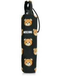 Moschino - Teddy Heads Black Mini Umbrella - Lyst