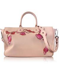 Carven - Large Nude Leather Tote Bag W/shoulder Strap - Lyst