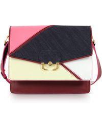 Paula Cademartori - Geranium Pink Leather And Denim Twi Twi Boho Shoulder Bag - Lyst