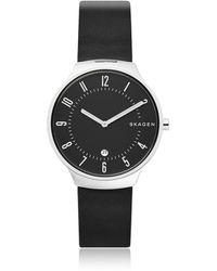 Skagen - Grenen Black Leather Men's Watch - Lyst