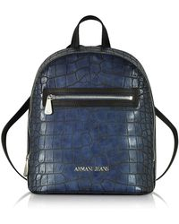Armani Jeans - Dark Navy Faux Embossed Croco Leather Backpack - Lyst