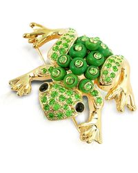 AZ Collection - Green Frog Brooch - Lyst