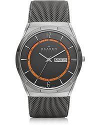 Skagen - Melbye Grey & Orange Titanium Men's Watch - Lyst
