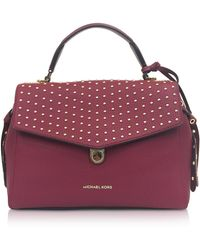 Michael Kors - Bristol Mulberry Studded Leather Top Handle Satchel Bag - Lyst