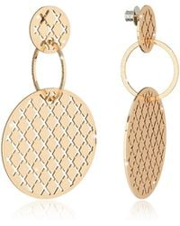 Rebecca - Melrose Yellow Gold Over Bronze Stud Drop Earrings W/round Charms - Lyst