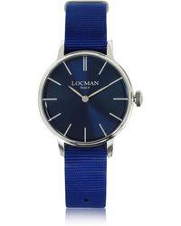 LOCMAN - 1960 Silver Stainless Steel Women's Watch W/blue Canvas Strap - Lyst